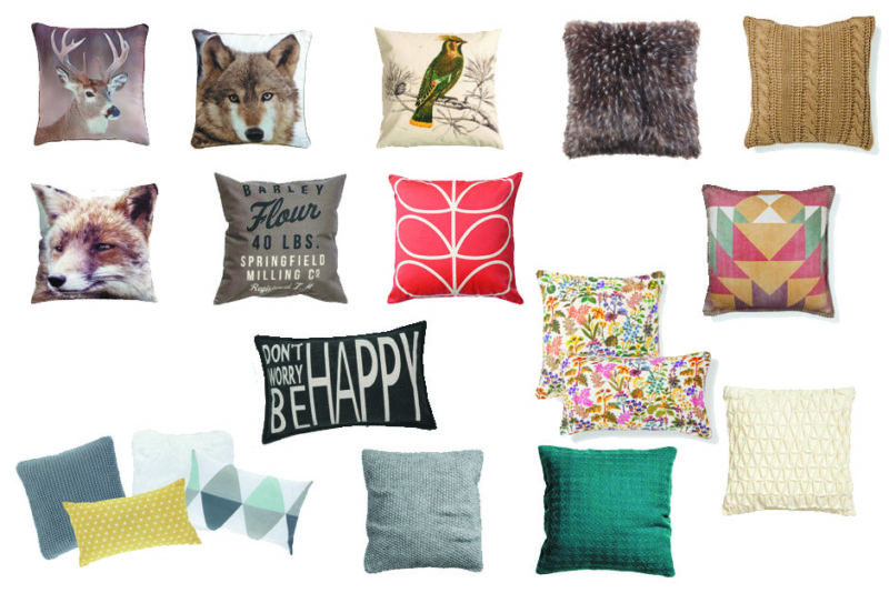 Crédit photo de g. à d. :  Maisons du monde (cerf et loup), H&M Home, Zara Home (fourrure et trico beige), H&M Home (renard et mots beige), Orla Kiely, Zara Home (fleuri et géométrique), Maisons du monde (les 4, Be happy), H&M Home (les 3 derniers)