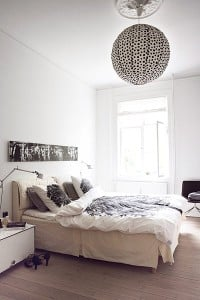 the bedroom in various shades of white