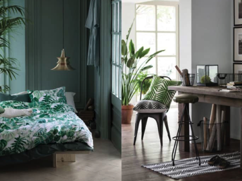 Vert émeraude + Tropical = Urban Jungle chez H&M Home