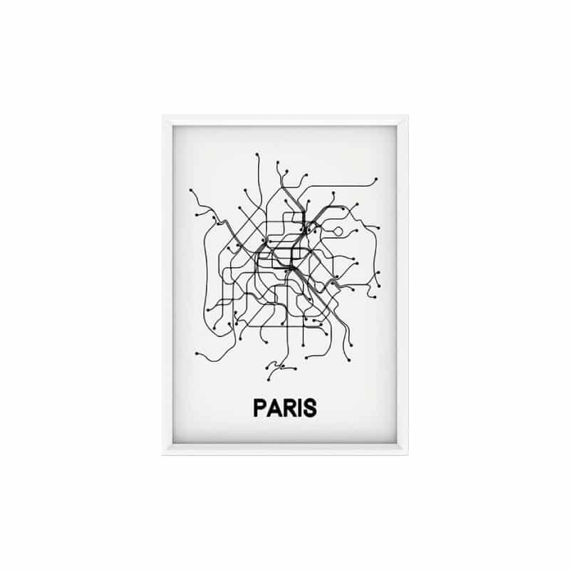 Poster A3 - PARIS MAP - HEMOON - Maison & Décoration