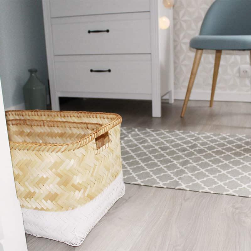 grande corbeille en bambou blanc et brut hemoon maison d coration. Black Bedroom Furniture Sets. Home Design Ideas