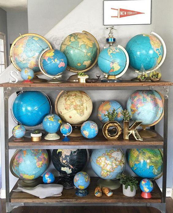 Collectionner des mappemondes dans la décoration de sa maison
