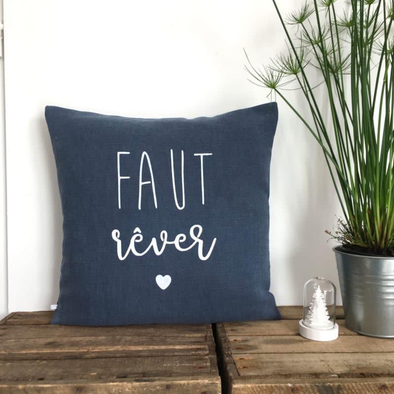 Coussin Faut Rêver - Lin bleu - HEMOON - Maison & Décoration