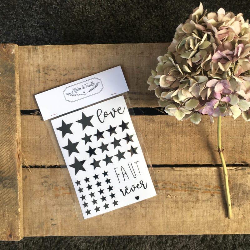 """Sticker - Planche """"Etoile - Faut Rêver - Love"""" - HEMOON - Maison & Décoration –"""