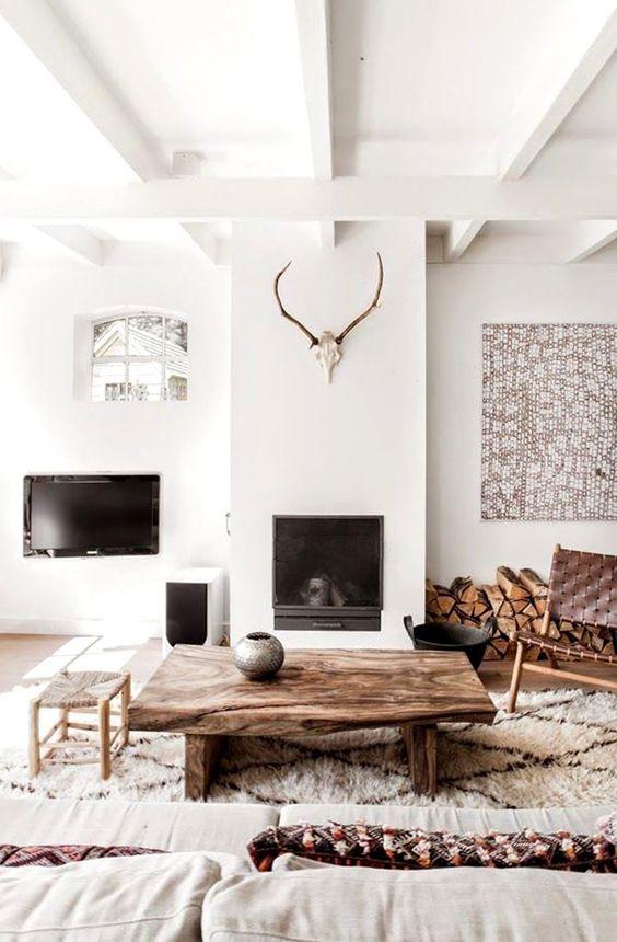 inspiration ethnique à la décoration blanc et bois