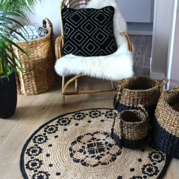 tapis rond boh me en jute et coton india hemoon maison d co. Black Bedroom Furniture Sets. Home Design Ideas