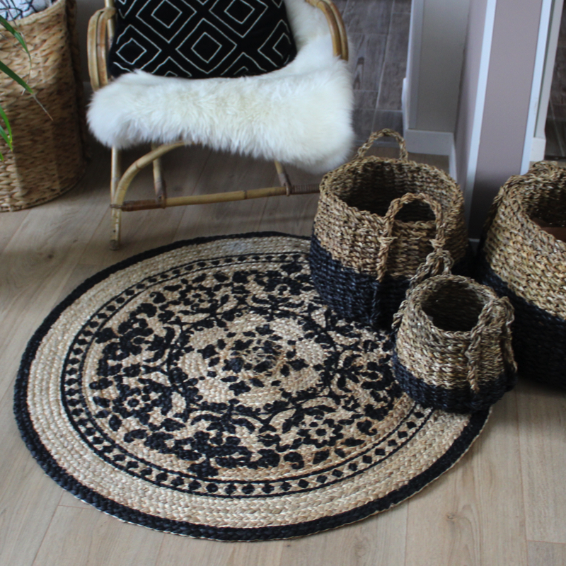 tapis rond boh me en jute et coton mandala hemoon fr. Black Bedroom Furniture Sets. Home Design Ideas