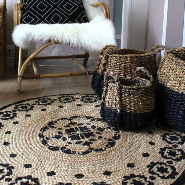 tapis rond boh me en jute et coton india hemoon. Black Bedroom Furniture Sets. Home Design Ideas