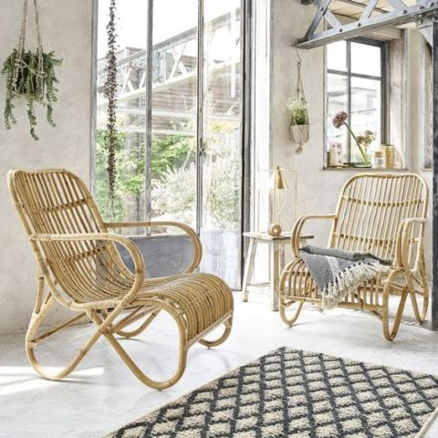 Lot de deux fauteuils en rotin style rocking chair