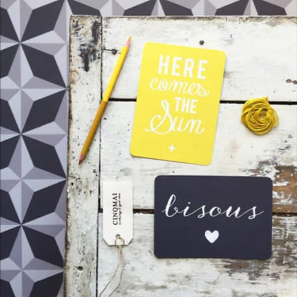 Carte Here come the sun - Citron - Cinqmai - Hemoon : Maison & Déco