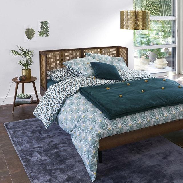 Lit vintage cannage noyer - soldes décoration et meubles