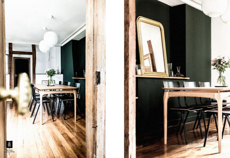 Décoration d'un appartement Haussmannien : On aime les lignes aériennes et chaleureuses de cette table vintage dans la salle à manger