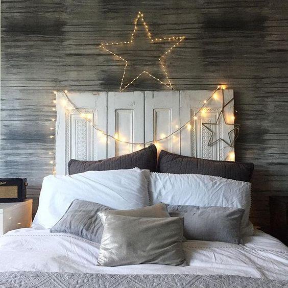 Tête de lit avec guirlande lumineuse pour rendre son intérieur chaleureux et cocooning