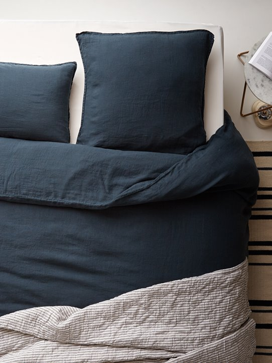 linge de lit en lin lavé Cyrillus bleu orion collection Cocoon