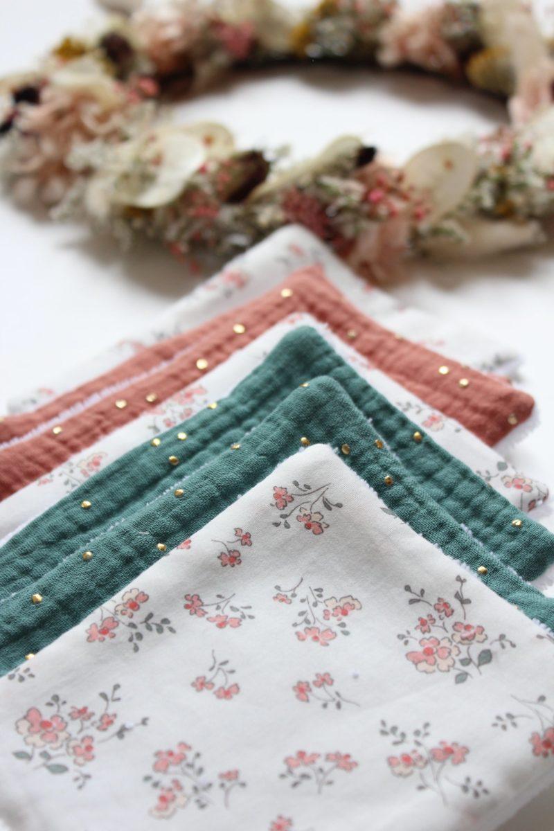 Semainier de lingettes lavables en gaze de coton