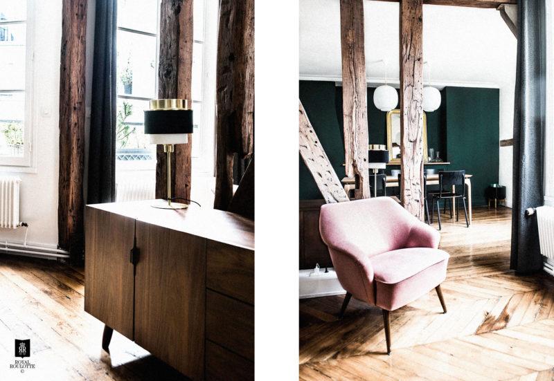 Salon aux touches vintage, dans la décoration d'un appartement Haussmannien
