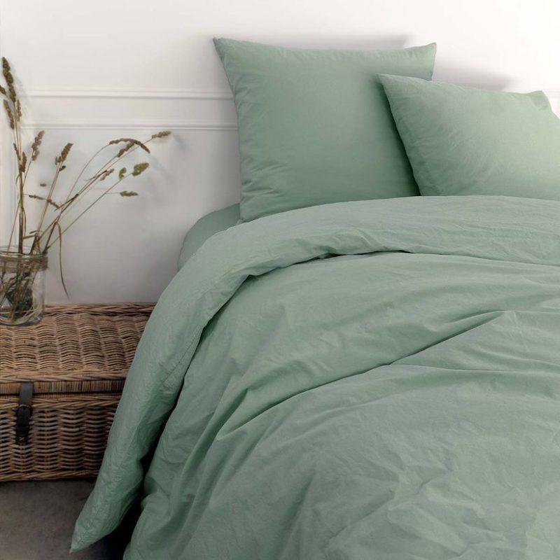 Parure de lit en coton lavé maison tilleul