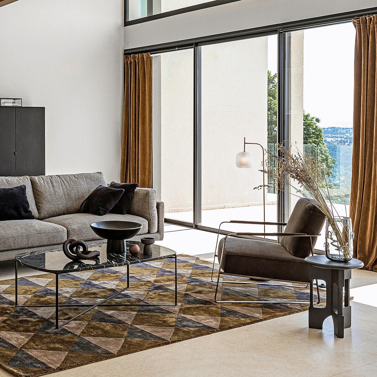 Table basse en marbre marron et laiton vieilli le must have du style art deco