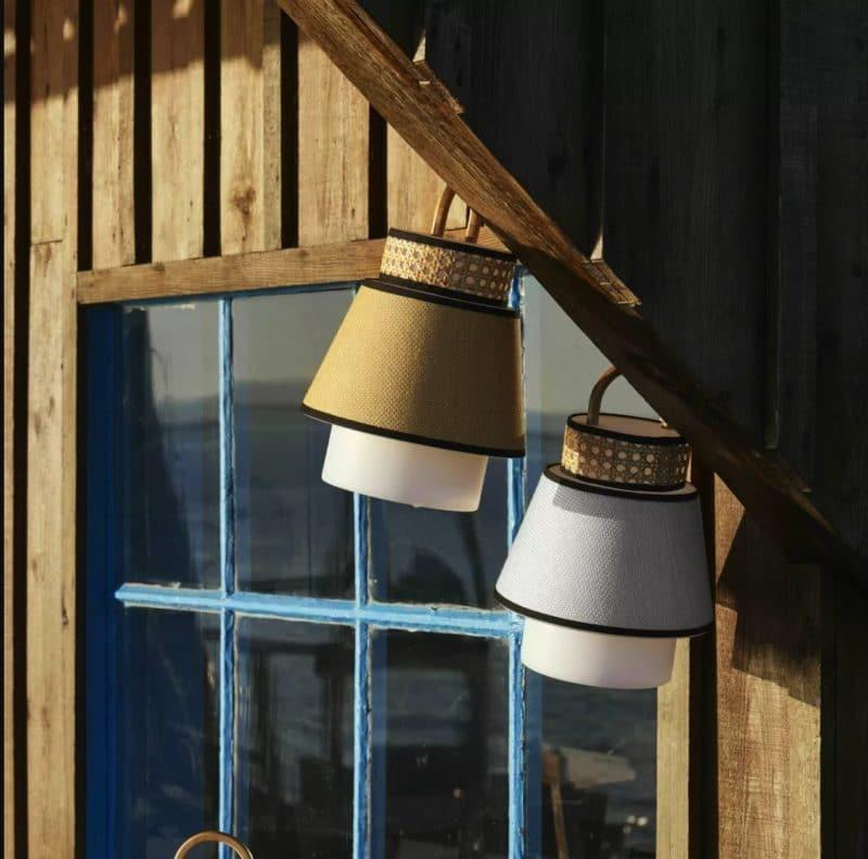 Lampe baladeuse extérieure design Market Set en cannage et en lin