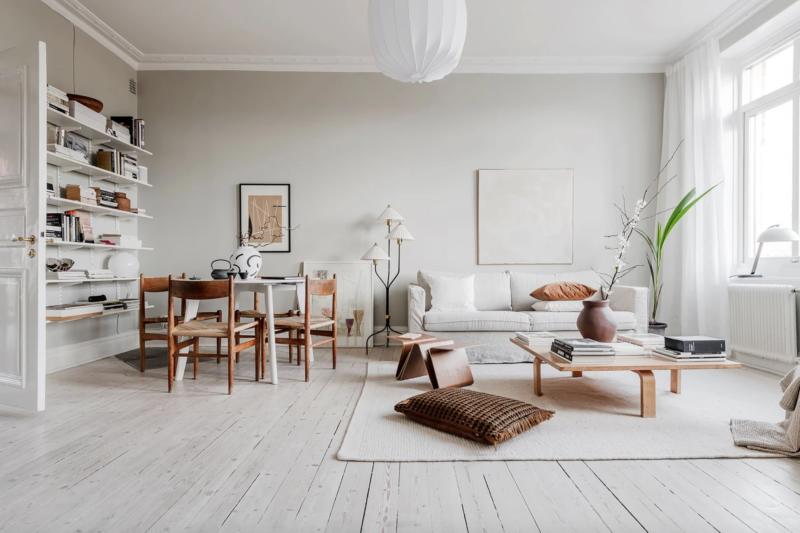 Un salon décoré à la croisée des styles entre design danois et style japonisant