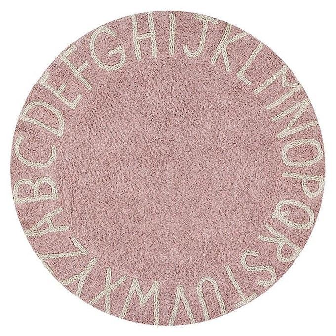 Tapis rond lavable pour chambre d'enfant couleur rose nude chez Lorena Canals