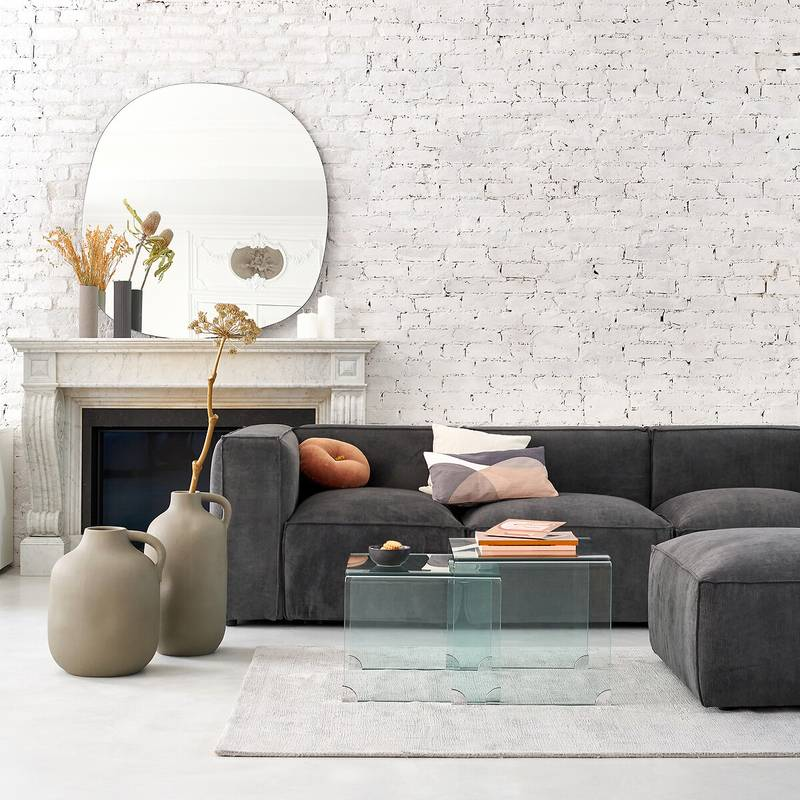 Canapé modulable en velours côtelé gris par La Redoute intérieurs